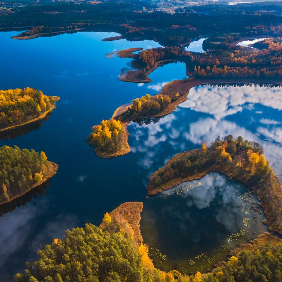 Aerial view of Dringis lake in Lithuania