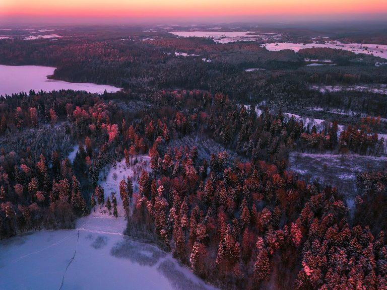 Aerial-image-of-colorful-winter-landscape-in-the-evening-light